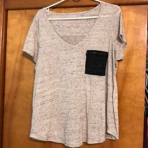 Forever 21 + Gray Tee with Black Pocket